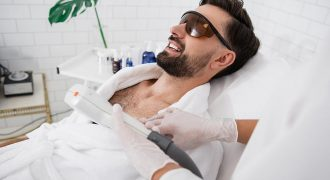 man getting IPL treatment | painless hair removal
