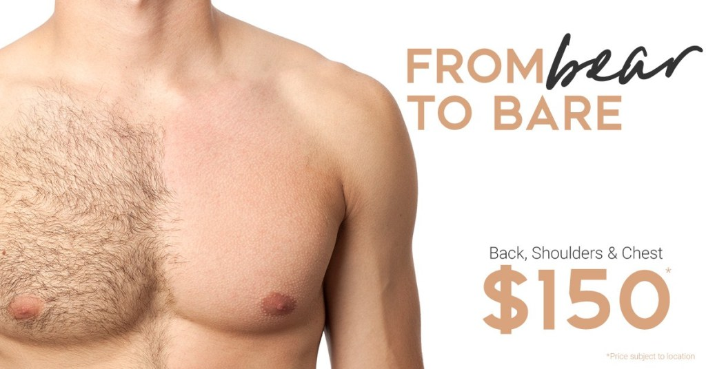 man with half of his chest hair removed | mens IPL services